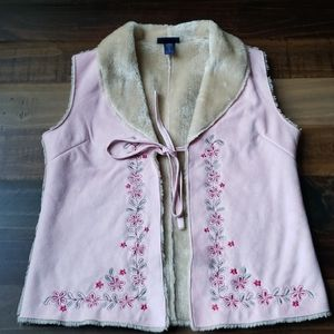 Limited Too Faux Suede and Fur Vest